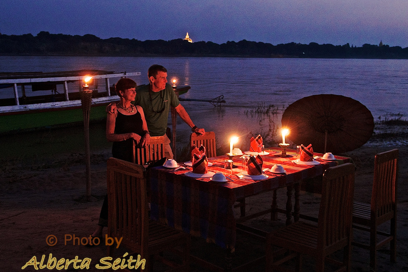 Sand Bar Dinner on the Irrawaddy River
