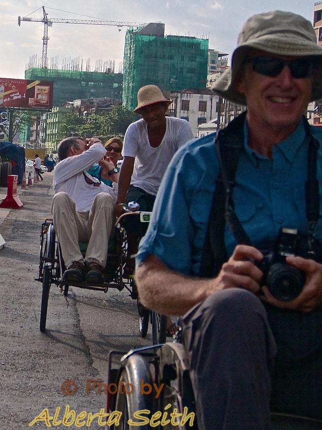 Trishaw ride through Downtown Yangon