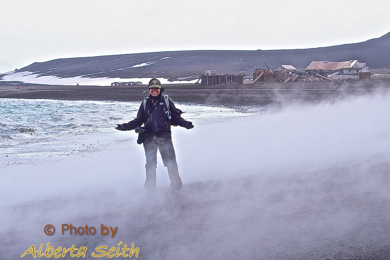 Dip in Whaler's Bay at Deception Island