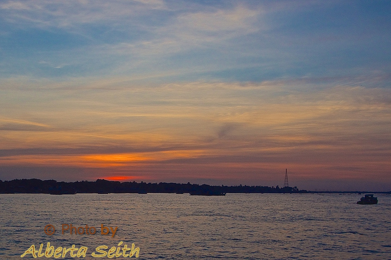 Sunset on the Yangon River