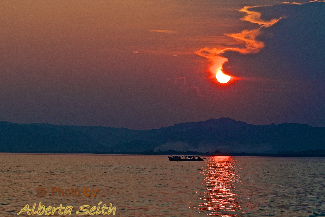 Sunset on the Irrawaddy River- Bagan