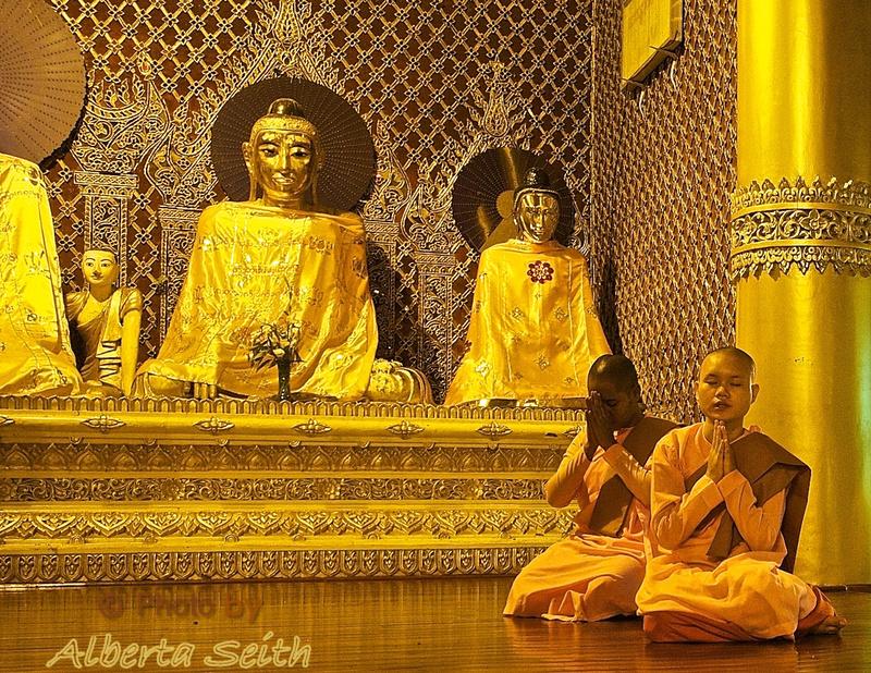 Female Monks Pray at Schwedagon