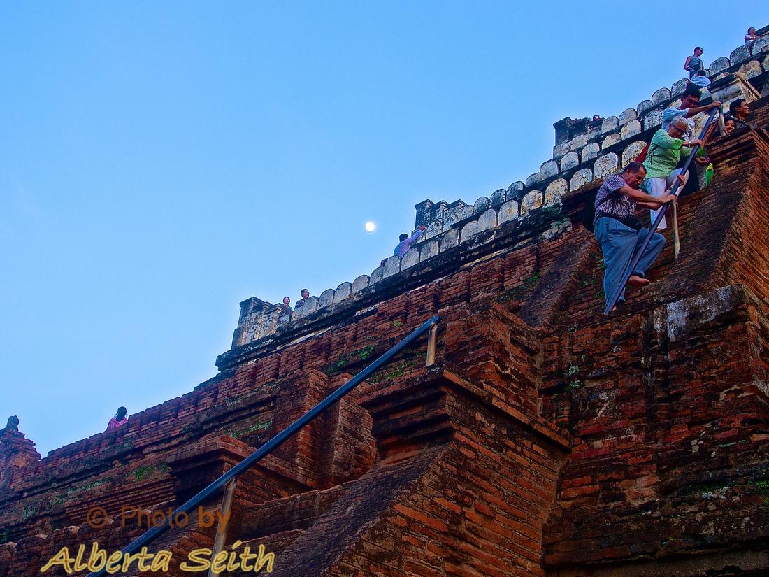 Climbing Bagan Temple Steps at Sunset