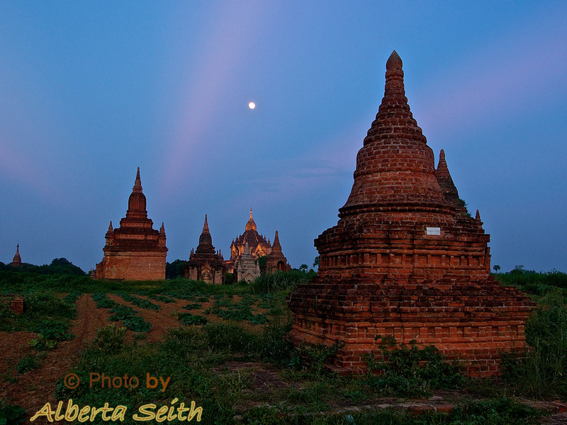 Sunset Moon over Bagan Pagodas