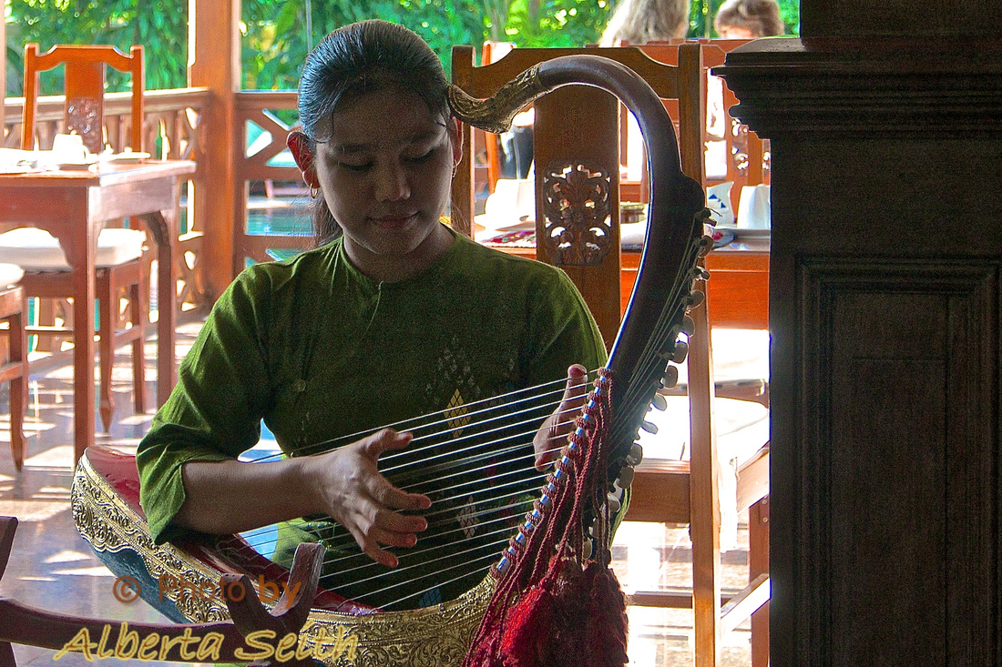 Playing a Burmese Arched Harp
