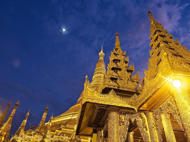 Moon over the Shwedagon Pagoda
